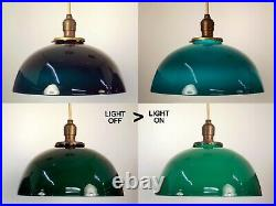 PAIR Antique 1920's Green Glass 12 Shade Hanging Pendant Light Fixtures REWIRED