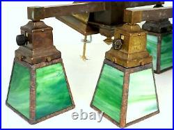 PAIR Antique Art And Crafts Brass Stained Glass Ceiling Light Fixture Chandelier