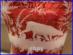 PAIR Antique Large Crystal Red Cut to Clear Bohemian Vases w Deer 8.5 h&w