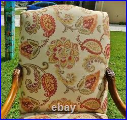 PAIR Antique/Vtg Large Solid Mahogany Bergere Carved Wood Upholstered Arm Chairs