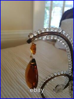 PAIR Vintage Currey & Co Crystal Beaded Sconces with Amber Hollywood Regency