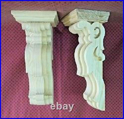PAIR of Large Victorian Wood Corbels Unfinished (#7306)