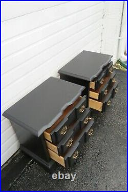 Painted Black Pair of Large Nightstands Side End Tables 1674