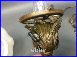 Pair Antique Victorian Early Cast Iron Wall Table Sconce French Lights withShades
