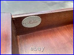Pair Baker Furniture Mahogany Bed Side Tables Large Single Drawer Sofa / Reeded