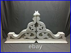 Pair Extra Large Antique White Roof Corbels Cornice Shabby VTG Chic Old 1360-20M