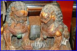 Pair Large Antique 19th Century Chinese Cast Iron Fo Dogs/Temple Lions, c1890