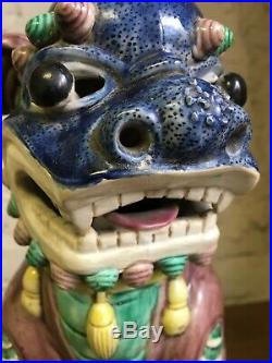 Pair Large Antique Polychrome Foo Dogs Statues circa 1900