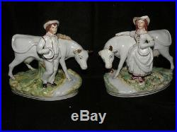 Pair Large Antique Staffordshire Milkmaid & Boy With Cows Thomas Parr