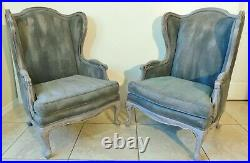 Pair Large Antique/Vtg Painted Fabric Wood Frame Wing Back Arm Chairs
