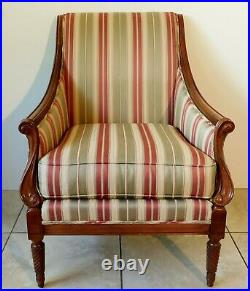 Pair Large Antique/Vtg Temple Furn. Solid Mahogany Upholstered Accent Arm Chairs