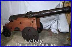Pair Large Bronze Cannons French Cannon Military Artillery