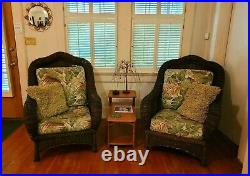 Pair Large Comfortable Vintage Brown Wicker Lounge Club Arm Chairs with Cushions