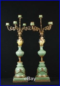 Pair Large French Porcelain Parrot Candelabras Candles