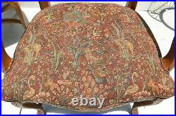 Pair Large Vintage Fairfield Carved Solid Wood Floral Tapestry Dining Arm Chairs
