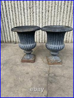 Pair Large Vintage French Cast Iron Planter Mantle Urns