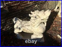 Pair Of Large Antique Chinese White Marble Foo Dogs /lions