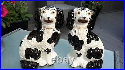 Pair Of Large Antique Staffordshire Mantle Wally Dogs