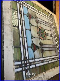 Pair Of Large Antique Victorian Stained Glass Windows Art Deco 28x29