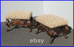 Pair Vintage Ornate French Louis XVI Benches w Tapestry Fabric and Large Nails