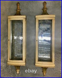 Pair Vtg Large Regency French Style Hanging Mirror Curio Cabinets Baker Quality