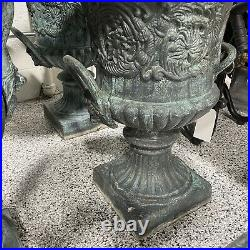 Pair of 30 Tall Large Neoclassical Figural Cast Iron Planters Urns