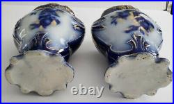 Pair of Antique Large Flow Blue Vases with Fruit Motif and Gold Gilding 12.5