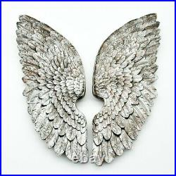 Pair of Antique Silver Angel Wings Wall Art Decoration Large Feather 70 cm