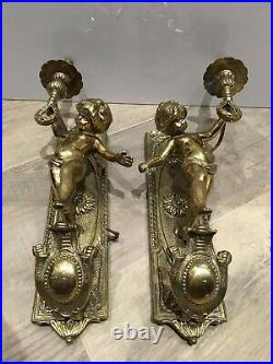 Pair of French Antique Bronze Wall Sconces Cupid Putti Angels Cherub