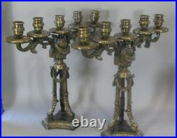 Pair of LARGE FRENCH ANTIQUE Gilt Bronze Candelabra c. 1900 38 Lbs +
