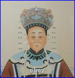 Pair of Large Antique Chinese Qing ancestral paintings on silk 56 inches