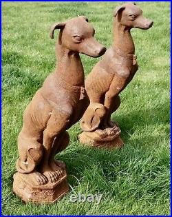 Pair of Large Outdoor Weathered Cast Iron Greyhound Dogs