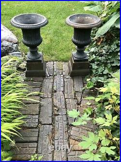 Pair of Large Vintage Antique Cast Iron Planters Urns on Risers Plinths 20 Tall