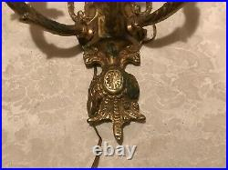 Pair of Vintage French Solid Brass 3 lite electric Wall Candle Sconces 16