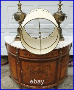 Pair of very large Hollywood Regency trophy urn Stiffel lamps with shades