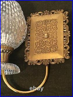 Pair of vintage 1968 GIM Brass Wall Sconce Lights Scroll French Glass Globe