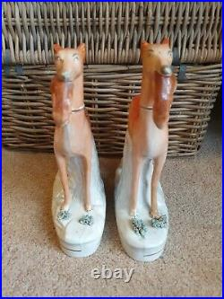 Rare Large Pair Antique 19thC Staffordshire Hunting Whippets Greyhounds Restored