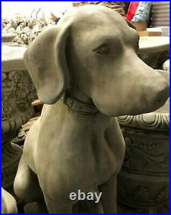 Reconstituted Stone Pair of Hunting Dog/Pointer Statues Antique Garden Ornament