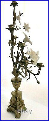 Romantic 19th c. Pair of Brass 9 Arm Floral Candelabras with Milk Glass Flowers