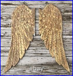 Salvaged Pair of 46.5 Large Wood Angel Wings Shabby Chic or Christmas Decor