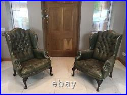 Stylish Pair of Large 18th Century Style Vintage Wing-Back Armchairs