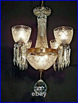 VINTAGE 4 Arm 5 Lite Waterford Style Crystal Globe Brass Chandelier (Pair Avail)