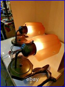 VTG Pair Art Deco 2-Leaping Ladies Flying Fems Sconces 1900-1940 with Pink Shades