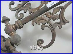 Victorian Brass Gas Wall Lights Lamps Antique Old Rococo Leaf Sconce Georgian