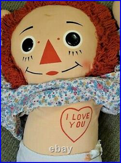 Vintage 1970's Large 38 KNICKERBOCKER PAIR of RAGGEDY ANN AND ANDY DOLLS